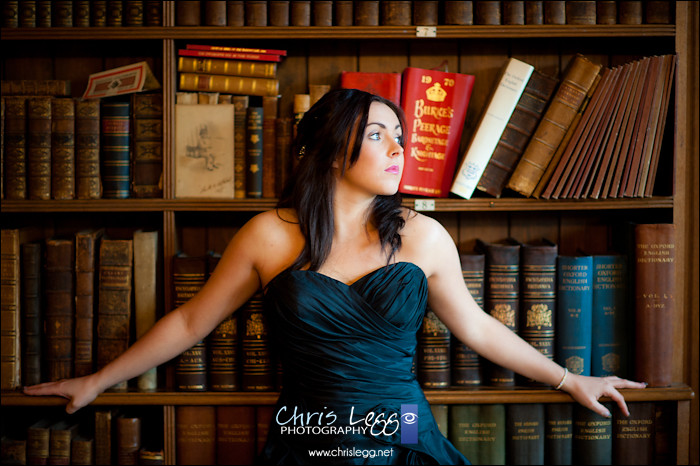Bridal Portrait in front of Bookcase