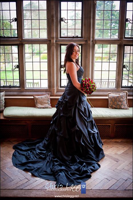 Bridal Portrait in front of leaded window