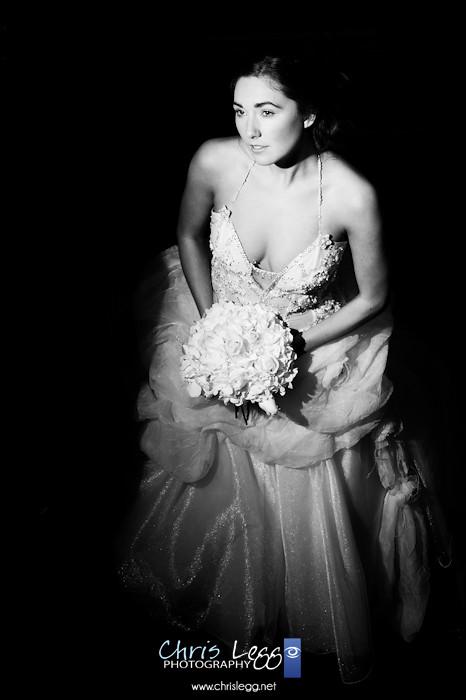 Flash lit bridal portrait