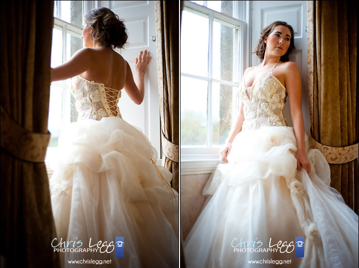 Bride looking through window