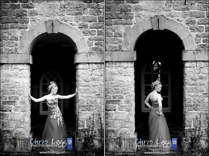 Bride posed in beautiful stone archway