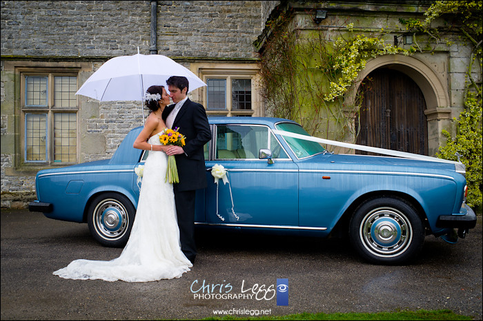 Bride and Groom in front of classic Rolls Royce