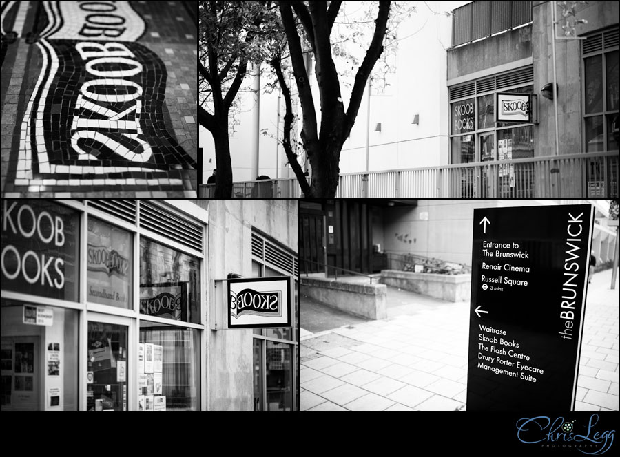 Collage of external shots of Skoob Bookstore in London