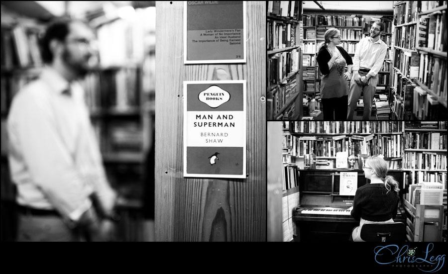 Engagement shoot in Skoob Bookstore, London