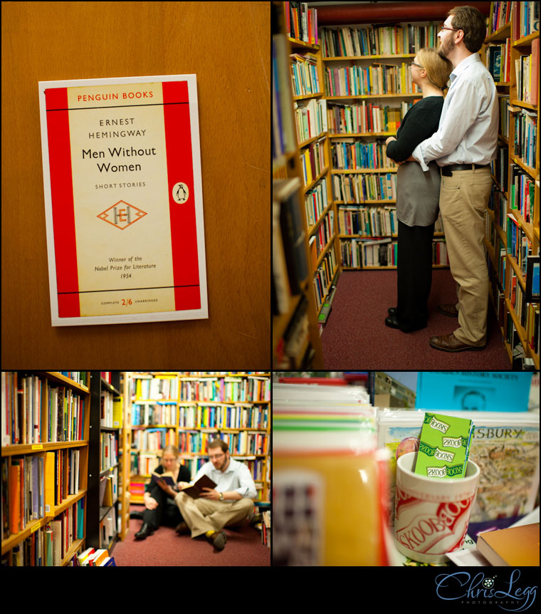 Photos from an Engagement shoot in a bookstore in London