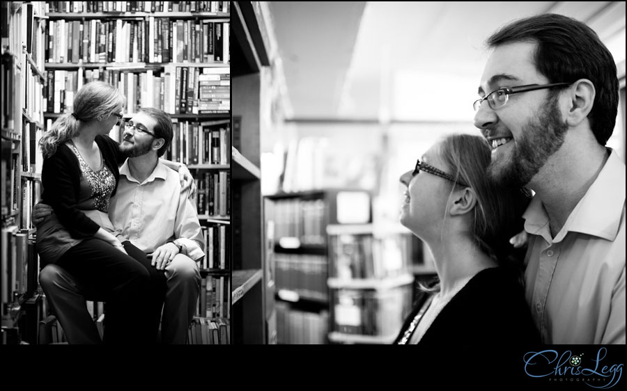 An engagement shoot in a London bookstore