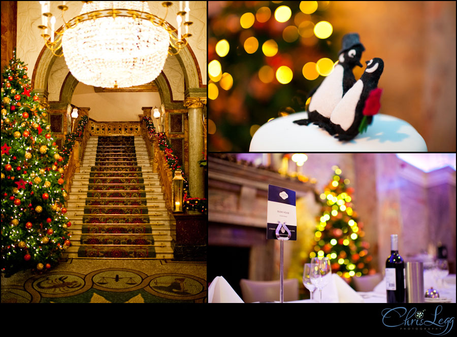 Images showing the decorations at a Hotel Russell Christmas Wedding