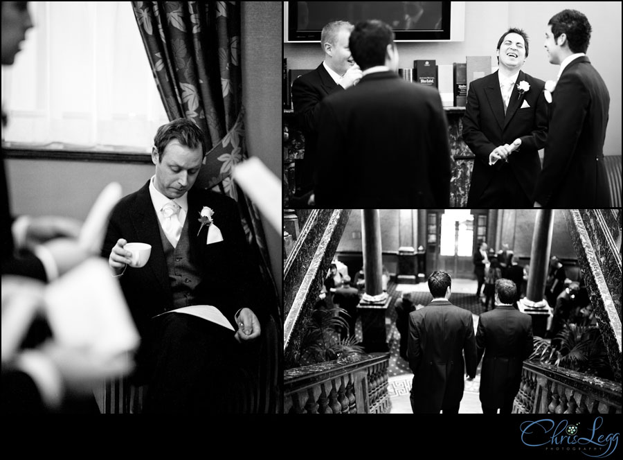 Groom and his groomsmen prepare for the big day
