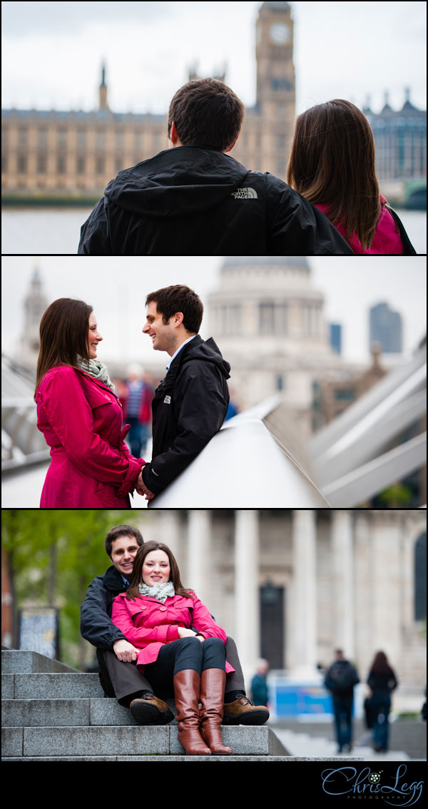 Pre-wedding shoot collage on Millennium Bridge and St Pauls Cathedral