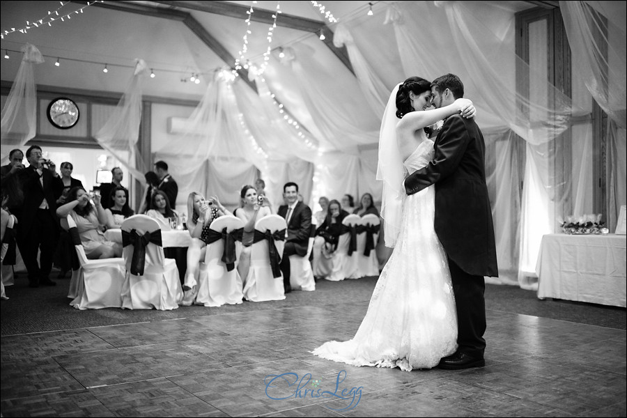 Black and white image of the bride and grooms first dance at Warren House