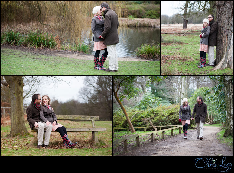 A collage of images from an engagement photography session in the Isabella Plantation in Richmond Park