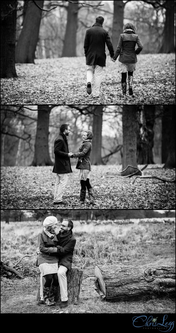 Black and white engagement photographs shot in Richmond Park in Surrey