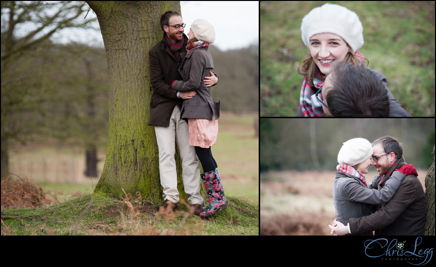 Colour photographs of a couple posing for their engagement shoot in Richmond Park in Surrey