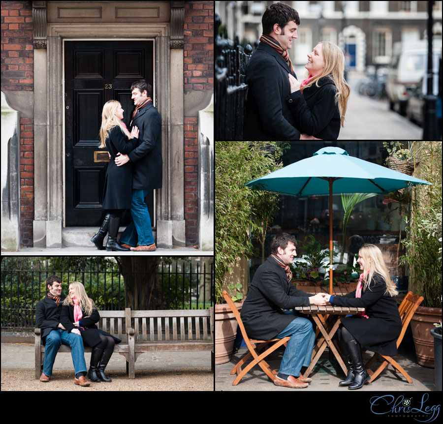 Engagement Shoot around the Georgian Townhouses in Bloomsbury